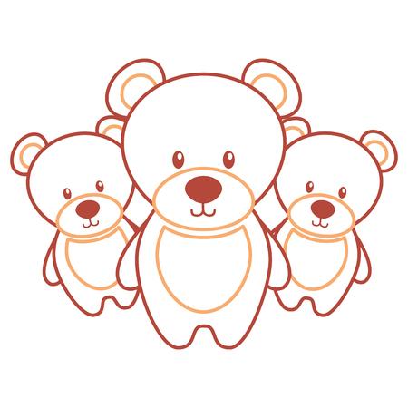 Drie teddyberen schattige dieren speelgoed vectorillustratie. Stock Illustratie