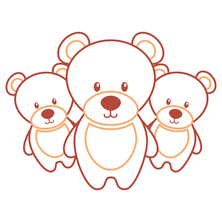 Three teddy bears cute animal toy vector illustration.