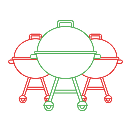 Three grill equipment preparation food vector illustration. Иллюстрация