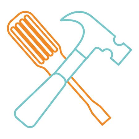 Hammer and screwdriver tools equipment repair vector illustration.