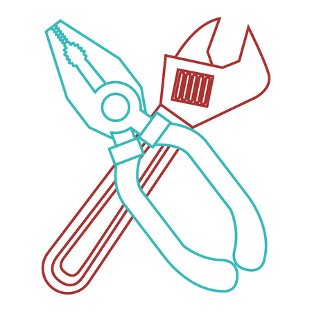 Pliers and wrench tool equipment support vector illustration.