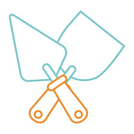 Tools crossed spatula construction icon vector illustration.