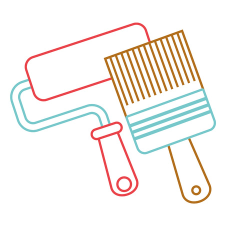 Roller paint and brush renovation and repair tools vector illustration. Illustration