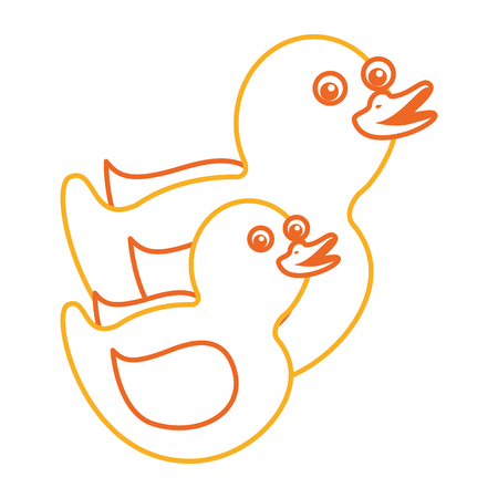 Two plastic ducks toy for children vector illustration.