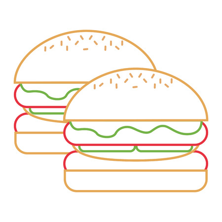 Pair burgers fast food unhealthy vector illustration. Illustration