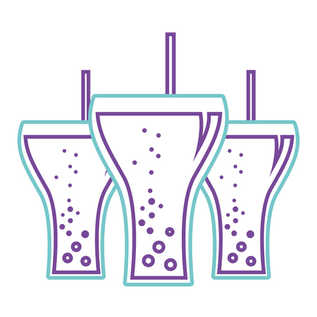 Beverage soda three glass straw bubbles vector illustration. Çizim