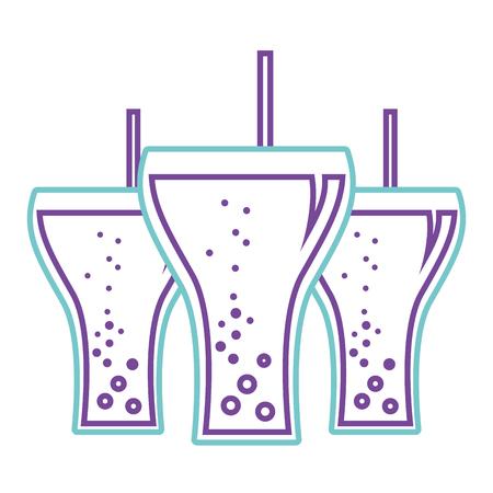 Beverage soda three glass straw bubbles vector illustration. Vectores