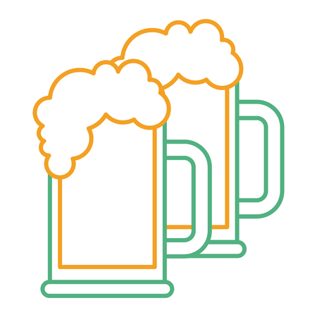 Two beer glass foam drink fresh vector illustration.