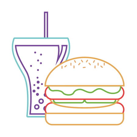 Burger and soda glass straw fast food vector illustration. Illustration