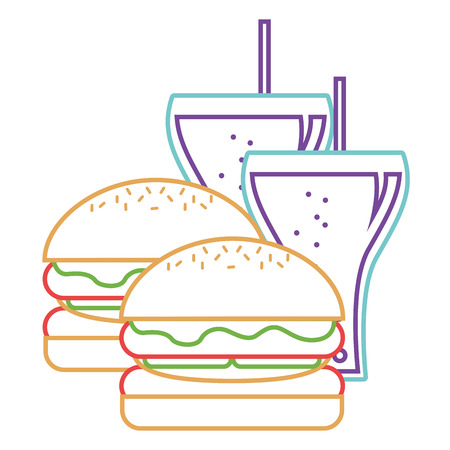 Burgers and two soda glass with straw vector illustration.