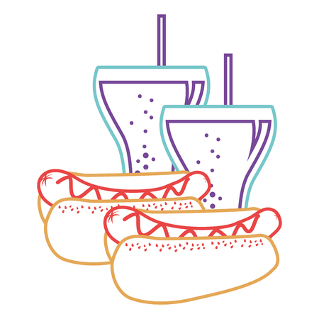 Hot dogs fast food and two soda delicious vector illustration.