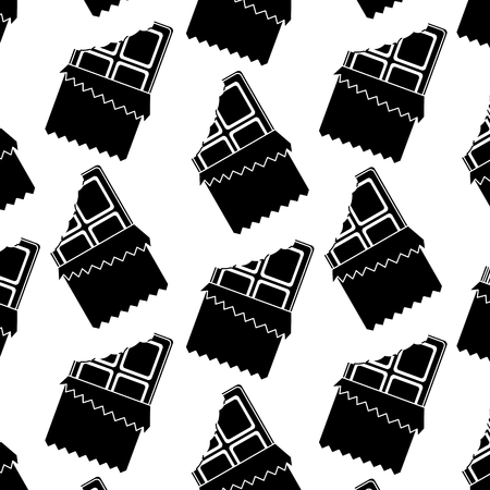 chocolate bar bitten in packaging seamless pattern vector illustration
