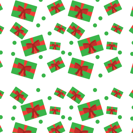 Christmas gift packages bow ribbon dotted decoration seamless pattern.