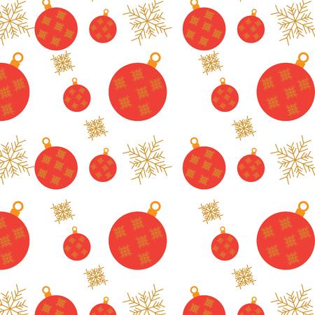 christmas balls snowflake decoration ornament pattern vector illustration