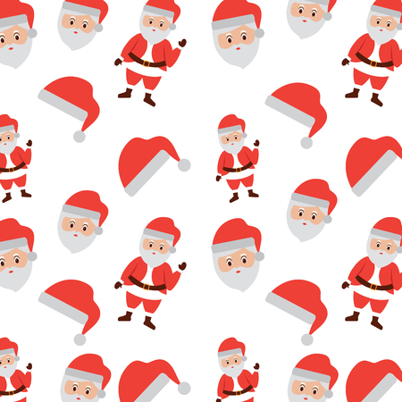 christmas santa claus face hat celebration seamless pattern vector illustration Illustration
