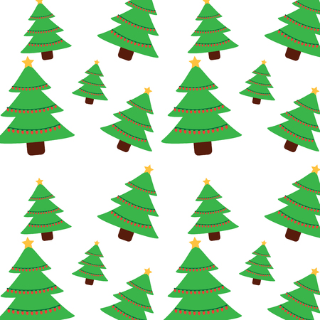 Christmas pine tree star lights decoration seamless pattern vector illustration.