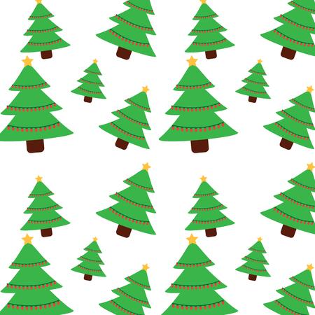 Christmas pine tree star lights decoration seamless pattern vector illustration.