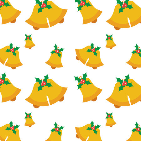 Seamless pattern with jingle bells christmas with holly berry vector illustration
