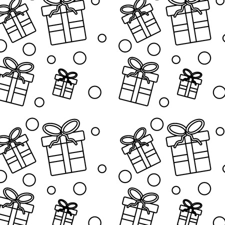 Christmas seamless pattern with presents celebration vector illustration outline image.