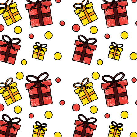christmas seamless pattern with presents celebration vector illustration Illustration