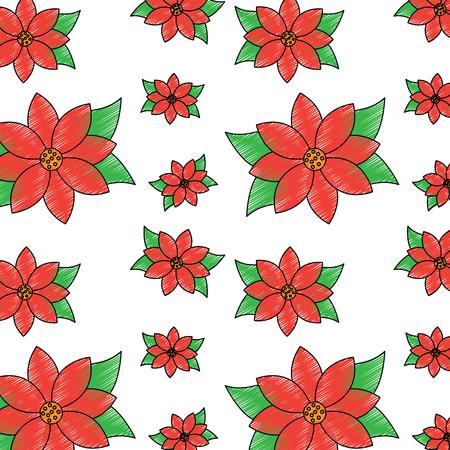 christmas poinsettia flower decoration traditional pattern vector illustration Illusztráció