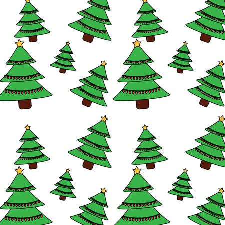 A christmas pine tree star lights decoration seamless pattern vector illustration
