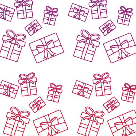christmas wrapped gift boxes riibon decoration pattern vector illustration Illustration