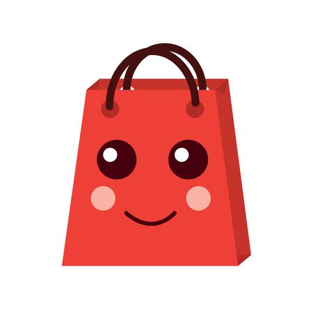 kawaii shopping bag cartoon happy smile vector illustration Stock Vector - 93331384