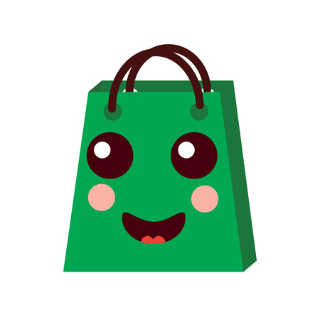 kawaii shopping bag cartoon happy smile vector illustration Illustration