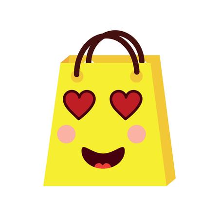 kawaii shopping bag cartoon happy smile vector illustration Stock Vector - 93331436