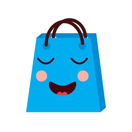 kawaii shopping bag cartoon happy smile vector illustration Stock Vector - 93331441