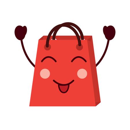 shopping bag cartoon happy smile vector illustration Stock Vector - 93346902