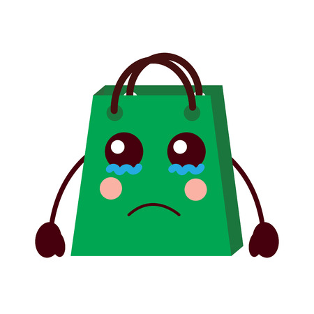 shopping bag cartoon sad expression vector illustration