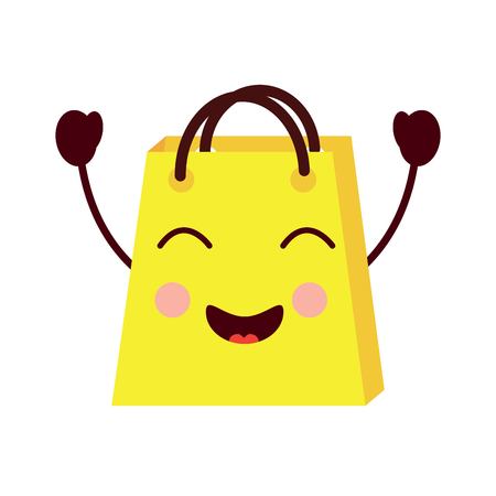 shopping bag cartoon happy smile vector illustration Illustration