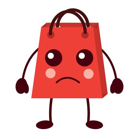 shopping bag cartoon sad expression vector illustration Stock Vector - 93347533