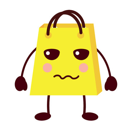 shopping bag cartoon sad expression vector illustration Stock Vector - 93347536