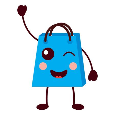 shopping bag cartoon happy smile vector illustration Stock Vector - 93347539