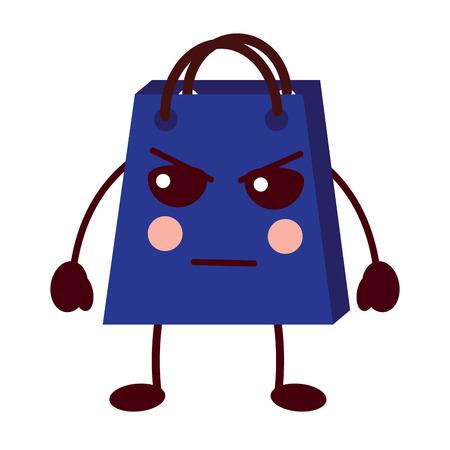 shopping bag cartoon sad expression vector illustration Stock Vector - 93347544