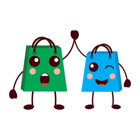 gifts shop bag cartoon friends vector illustration Stock Vector - 93347545