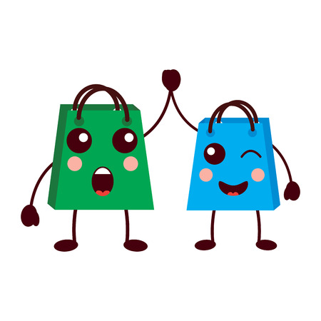 gifts shop bag cartoon friends vector illustration