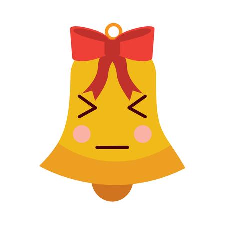 christmas jingle bell bow cartoon vector illustration Illustration
