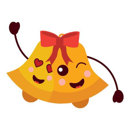 kawaii christmas jingle bells happy and love vector illustration
