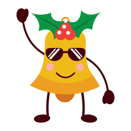 Kawaii christmas jingle bell with sunglasses cartoon vector illustration
