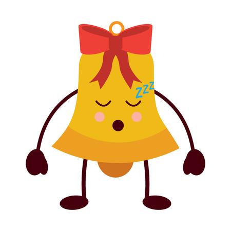 Kawaii christmas jingle bell sleeping vector illustration