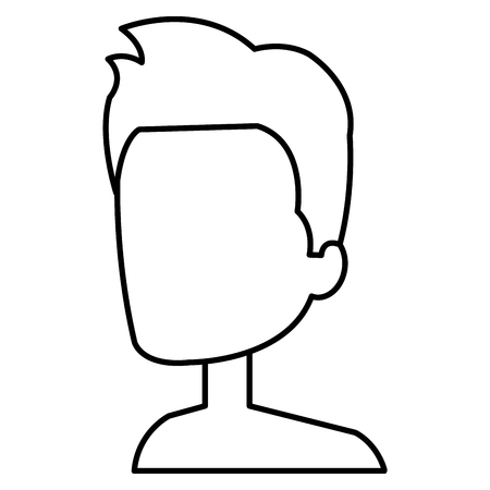 Young man faceless avatar character Illustration