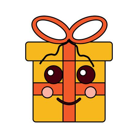 gift box cartoon facial expression vector illustration