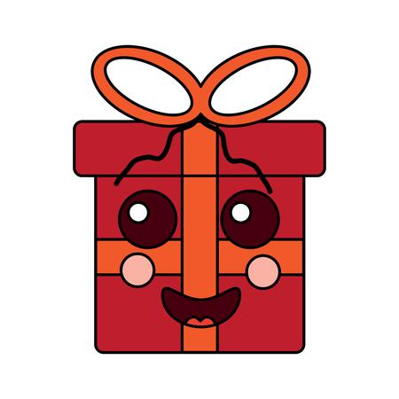 선물 상자 만화 얼굴 표정 벡터 일러스트 레이 션 스톡 콘텐츠 - 93347375