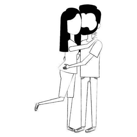 Casal apaixonado abraçado vector design ilustração Foto de archivo - 93347377