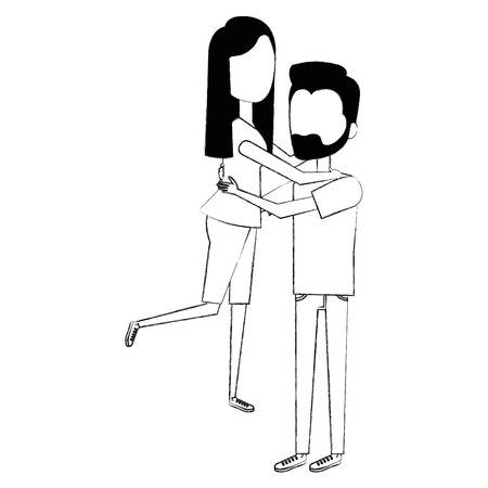 man carrying woman characters vector illustration design Illustration