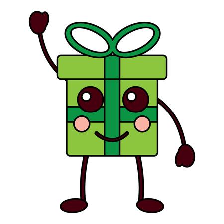 kawaii gift box cartoon facial expression vector illustration